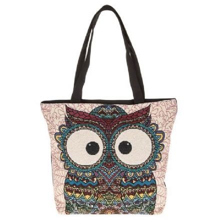 Decorative Owl Tote Bag in Cream